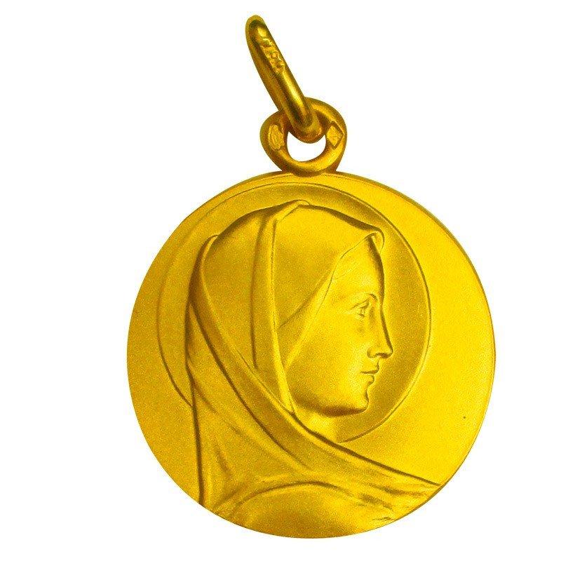 Médaille de la Vierge Marie voile ronde - plaqué or