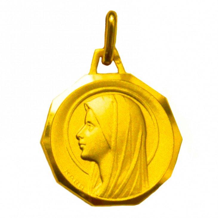 Médaille de la Vierge Marie avec bord - plaqué or