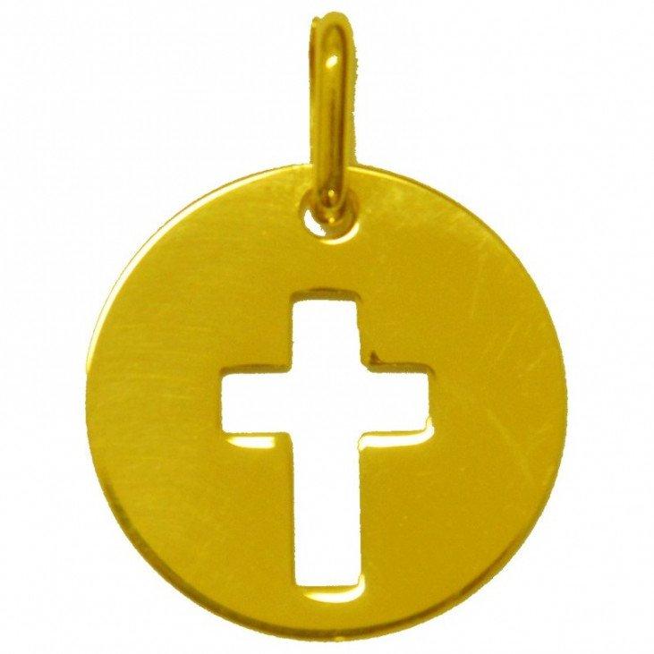 Médaille croix - plaqué or