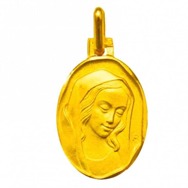 Médaille de la Vierge ovale 18mm - plaqué or