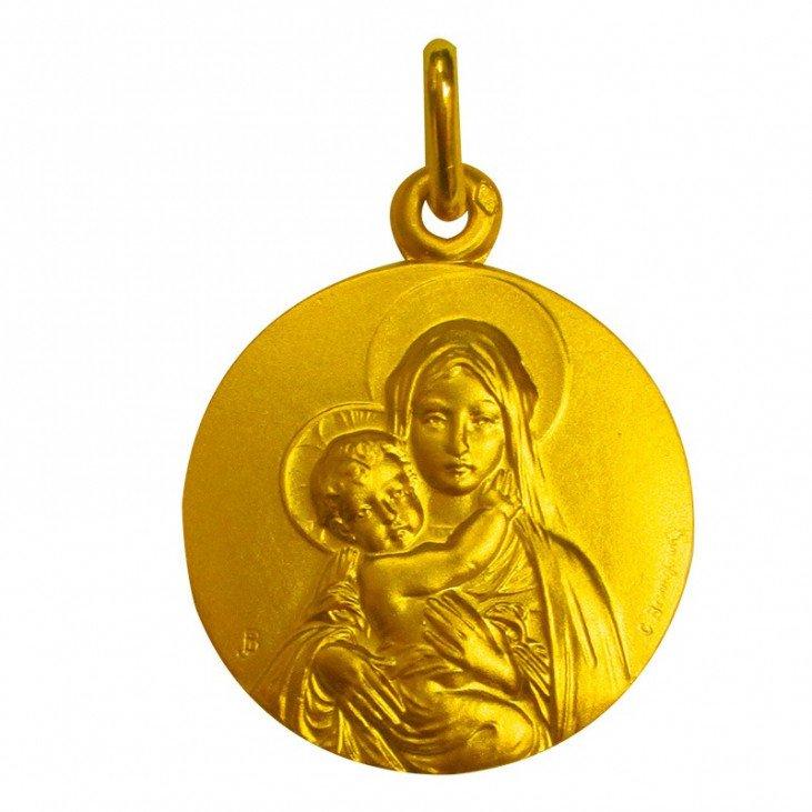 Médaille de la Vierge de Tendresse face - plaqué or