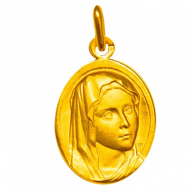 Médaille de la Sainte Vierge ovale - plaqué or