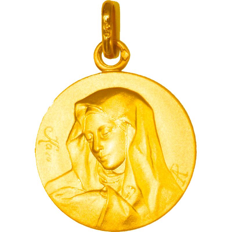 Médaille de la Vierge de profil ronde - plaqué or