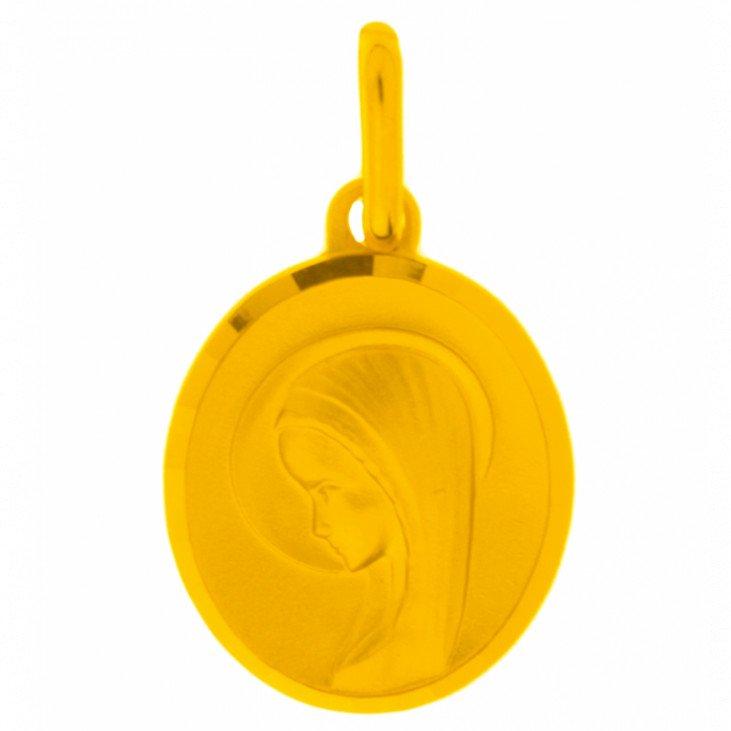 Médaille de la Vierge moderne 15mm - plaqué or