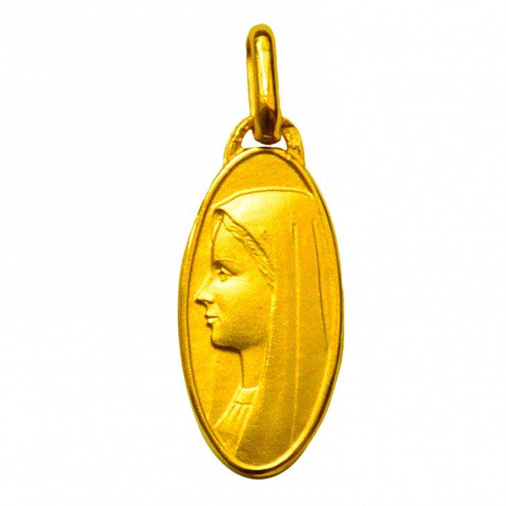 Médaille de la Vierge ovale 20mm - plaqué or