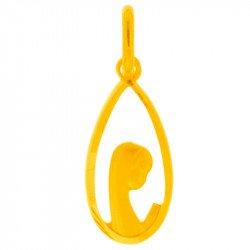 Médaille de la Vierge Priante ajourée - plaqué or