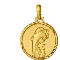 Médaille de la Vierge priante 16mm - or 18 carats