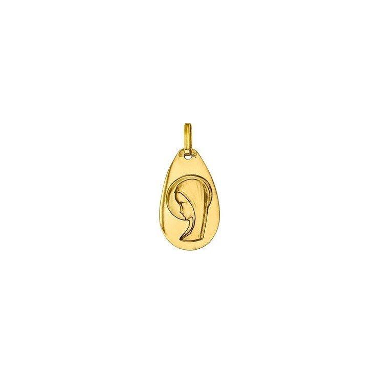Médaille de la Vierge 20mm forme de goutte - or 18 carats