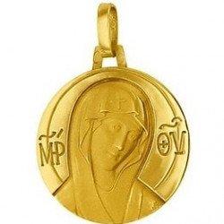 Médaille de la Vierge 18mm inscriptions - or 18 carats