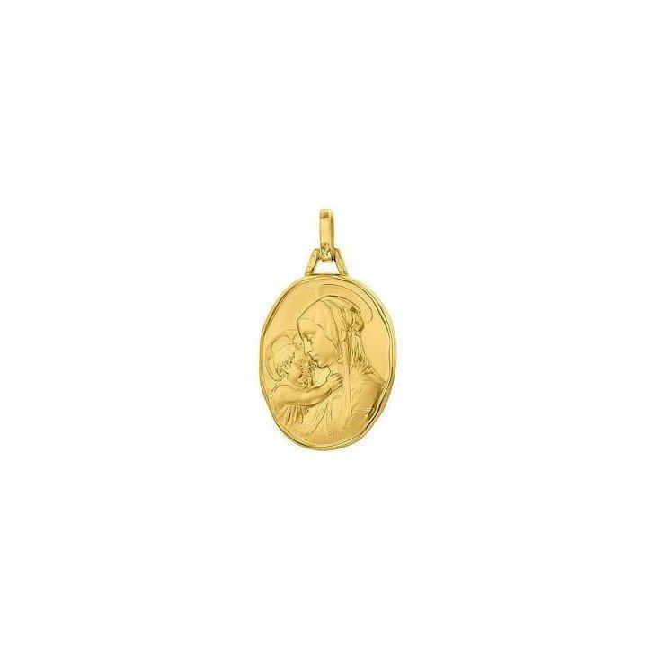 Médaille de la Vierge à l'Enfant ovale 18mm - or 18 carats