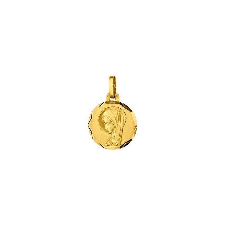 Médaille de la Vierge 14mm bord ciselé - or 18 carats