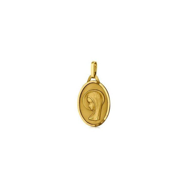 Médaille de la Vierge ovale 17mm - or 18 carats