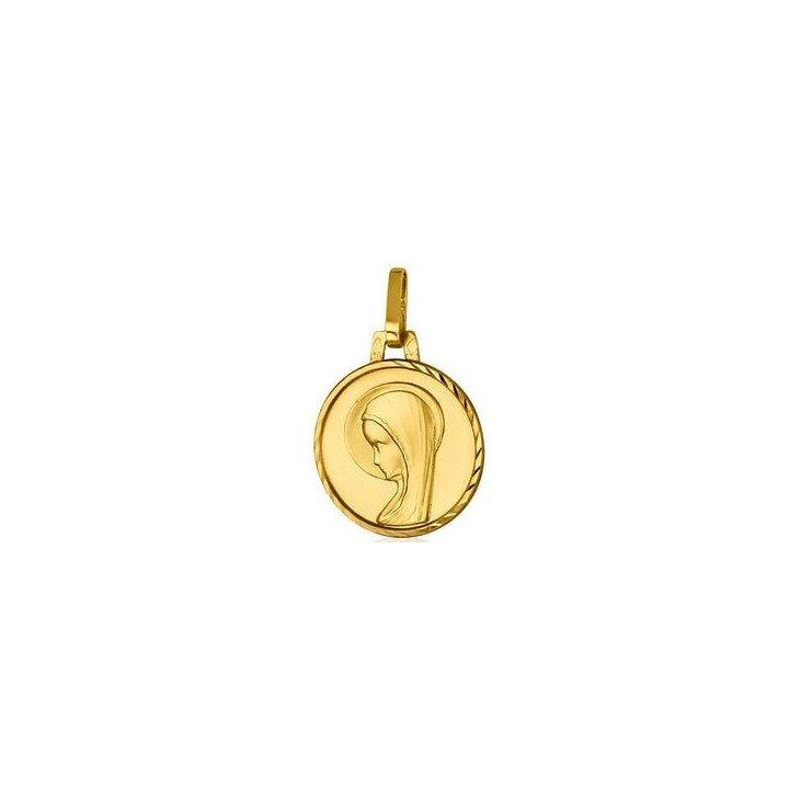 Médaille de la Vierge bord orné - or 18 carats