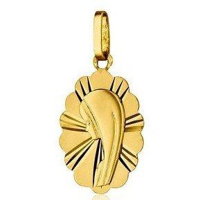 Médaille de la Vierge ovale 16mm festonnée - or 18 carats