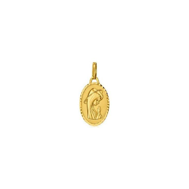 Médaille de la Vierge priante ovale 16mm - or 18 carats