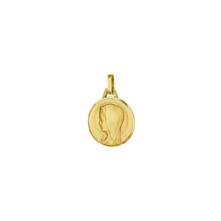 Médaille de la Vierge ronde 16mm - or 18 carats