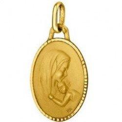 Médaille de la Vierge à l'Enfant ovale ornée 18mm - or 18 carats