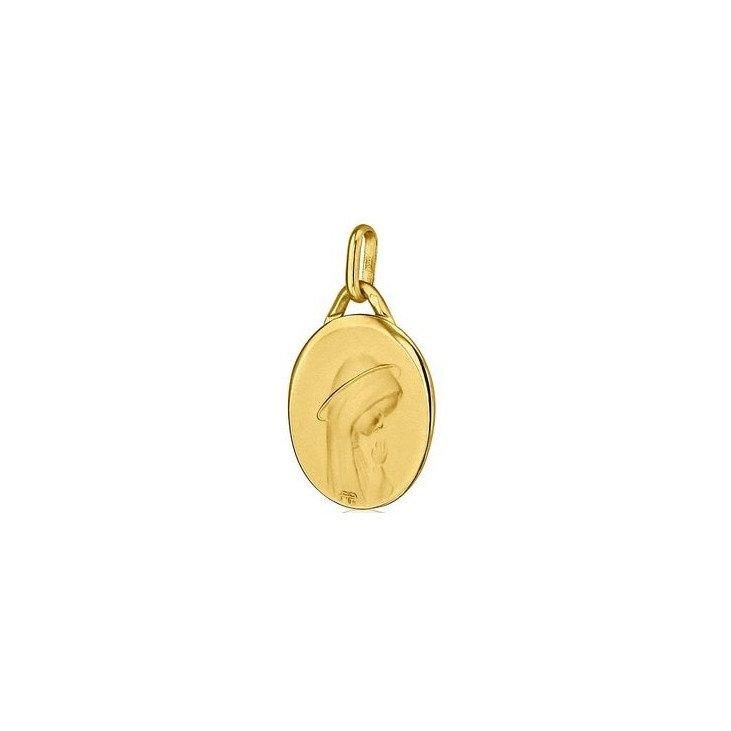 Médaille de la Vierge priante ovale - or 18 carats