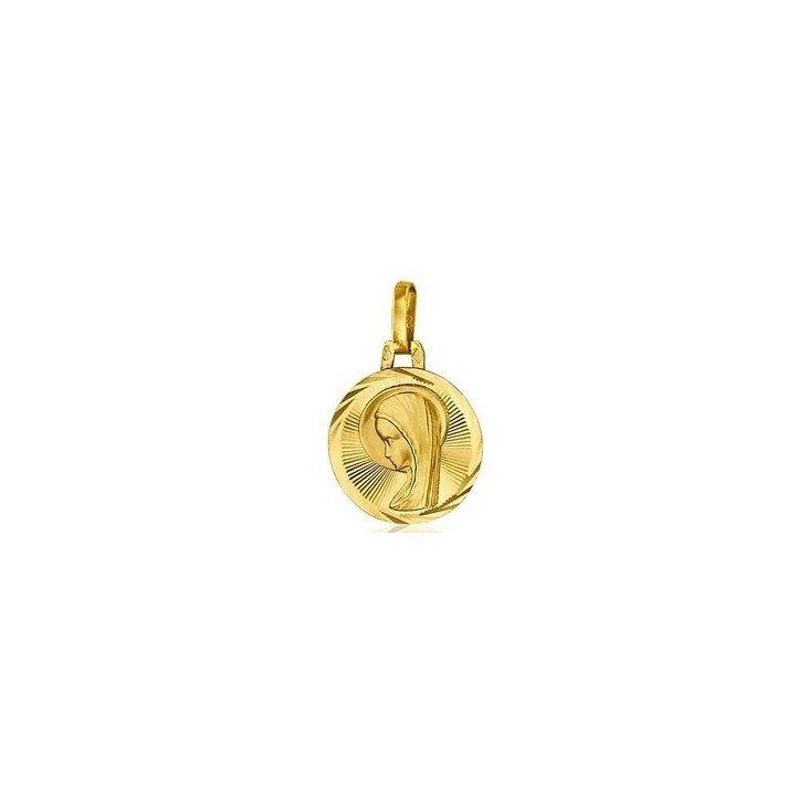 Médaille de la Sainte Vierge 14mm bord épais - or 18 carats