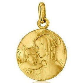 Médaille de la Vierge de Tendresse de profil 18mm - or 18 carats