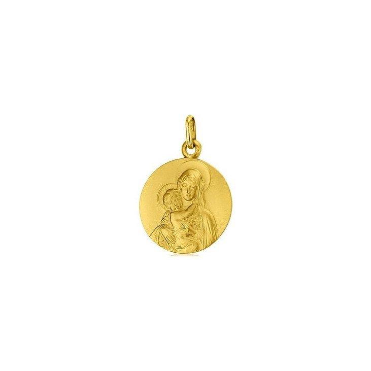 Médaille de la Vierge de tendresse de face 18mm - or 18 carats
