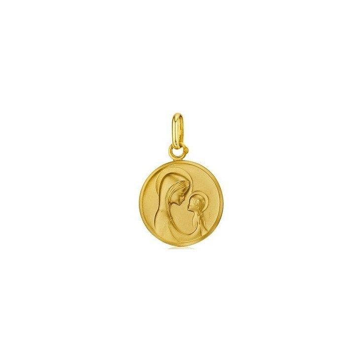 Médaille de la Vierge à l'Enfant moderne 18mm - or 18 carats