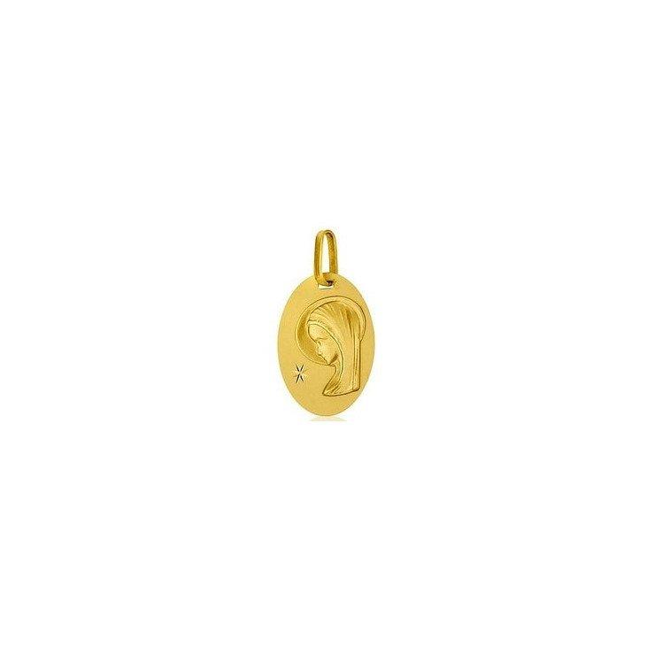 Médaille de la Vierge ovale étoile de Bethléem - or 18 carats