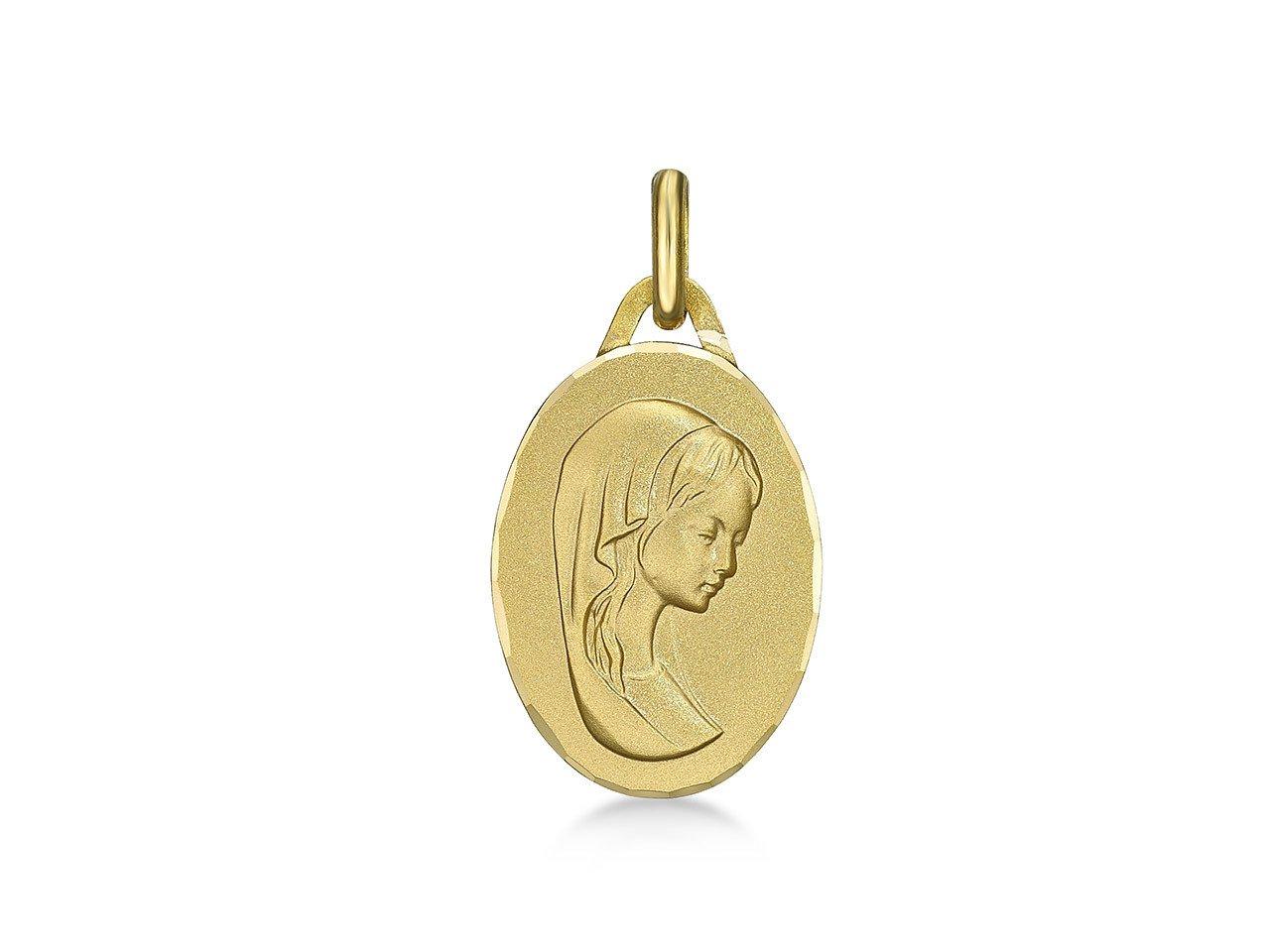 Médaille de la Vierge ovale 16mm bord ciselé - or 18 carats