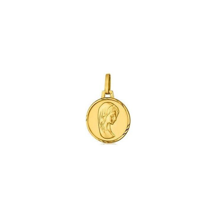 Médaille de la Vierge 14mm bord orné - or 18 carats