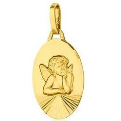 Médaille Ange ovale - or 18 carats