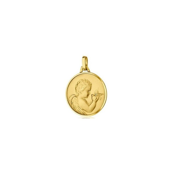 Médaille de l'Ange avec colombe - or 18 carats