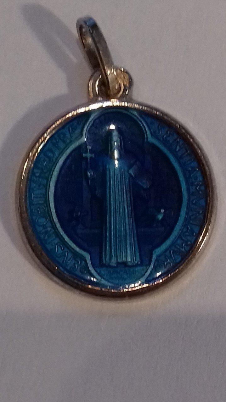 Médaille Saint Benoît argent émail