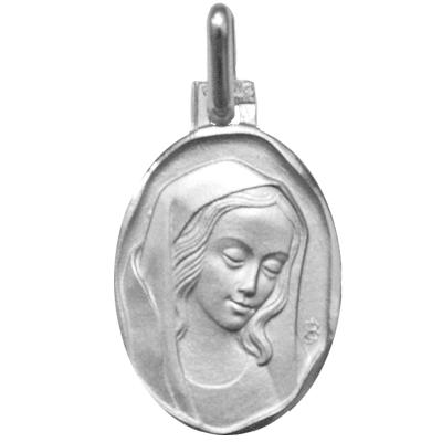 Médaille ovale de la Vierge - argent