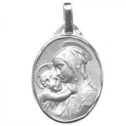 Médaille de la Vierge à l'Enfant ovale - argent