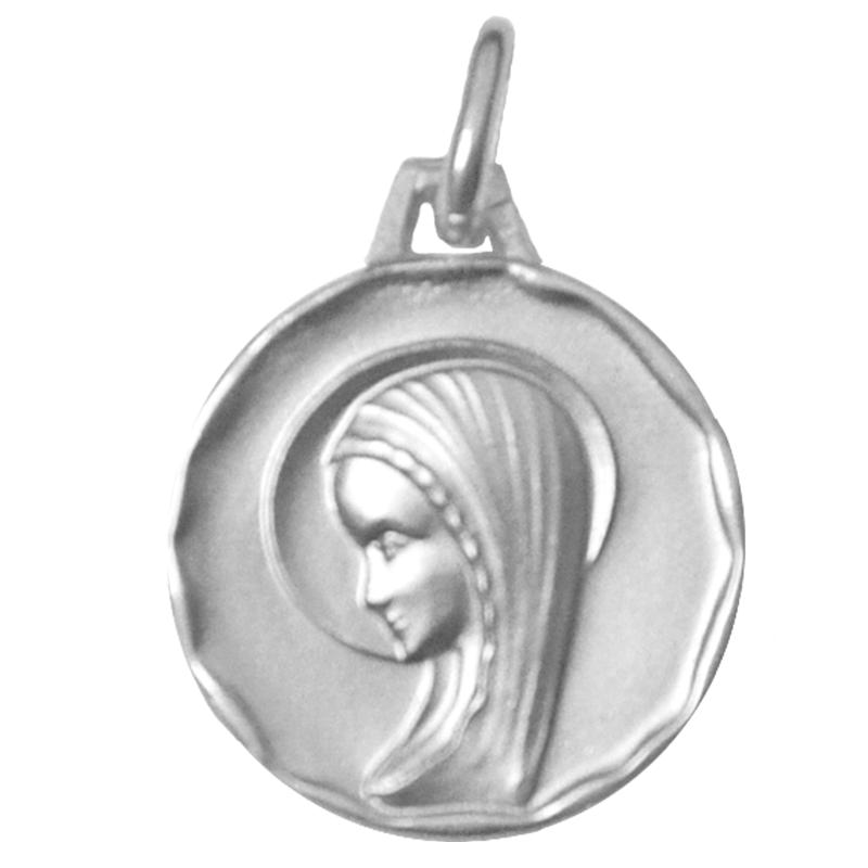 Médaille de la Vierge de profil avec bord - argent