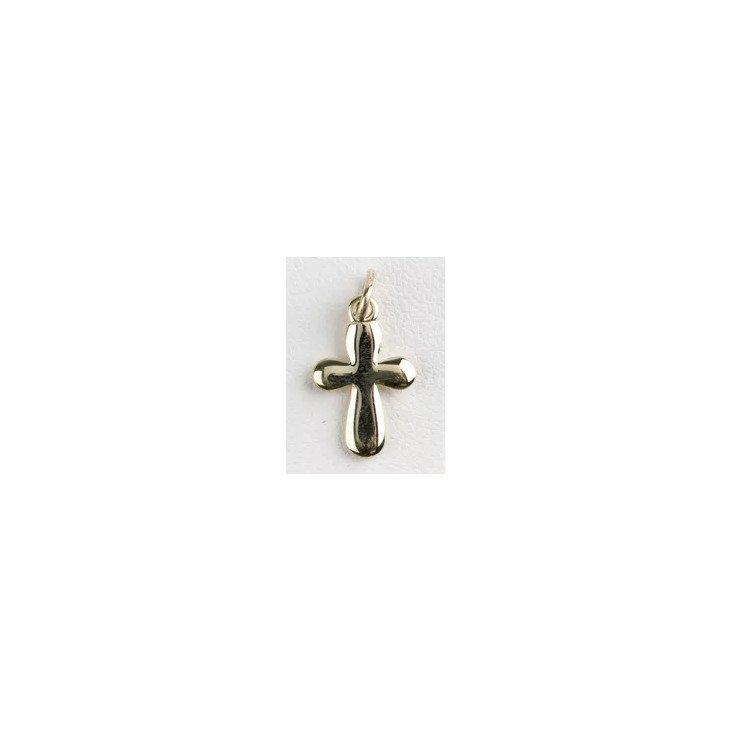 Croix arrondie 15mm - plaqué or