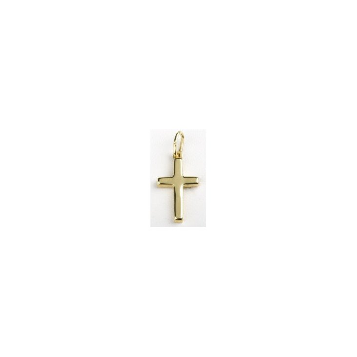Croix plate - plaqué or