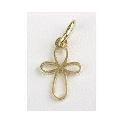 Croix ajourée trèfle - plaqué or