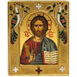Icône Christ Pantocrator Cadre Bronze Emaillé