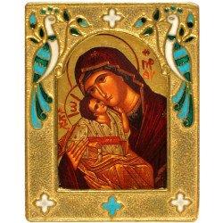 Icône de la Vierge de Tendresse Cadre en Bronze Emaillé