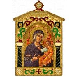 Icône Marie Porte du Ciel Cadre Bronze Emaillé