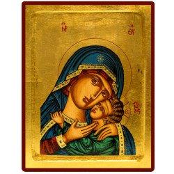 Icône Creuse Vierge de Korsun Voile Bleu