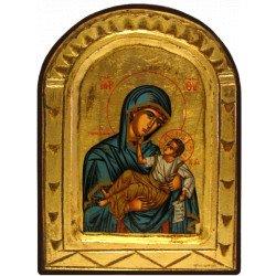 Icône Sculptée Vierge Toute Puissante Bleue