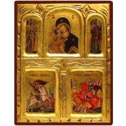 Icône Vierge de Vladimir, Saint Michel et Saint Dimitri