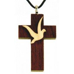 Croix en bois verni avec cordon - Sujet colombe