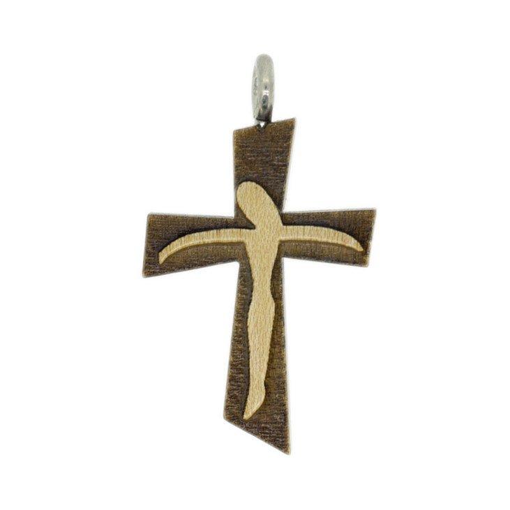 Croix en bois verni avec cordon - Sujet Christ