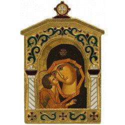 Icône Vierge de Vladimir Cadre en Bronze Émaillé Détails
