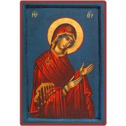 Icône Vierge en Prière Bleue entièrement peinte à la main