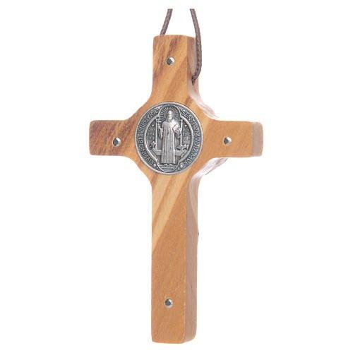 Croix Saint Benoît avec cordon - Bois d'olivier