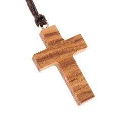 Croix pendentif avec cordon - Bois d'olivier